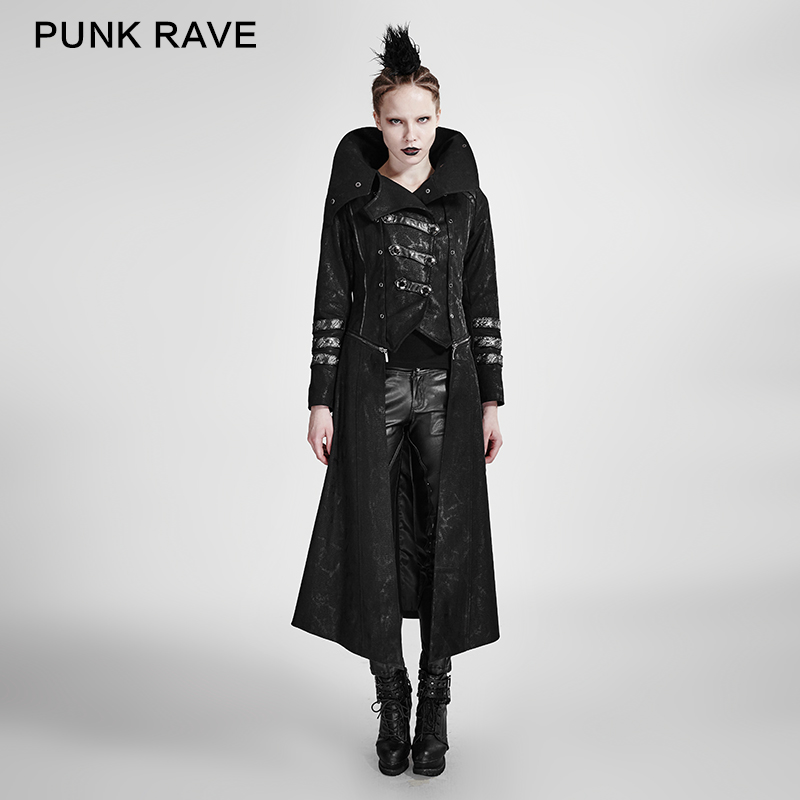 <strong>Y</strong>-364 Wholesale Black Gothic Winter High Lapel Collar Woman Long Sleeve Pant <strong>Coat</strong> Design