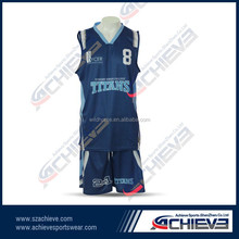 custom basketball uniform sets 100%polyester basketball jersey /short logo design