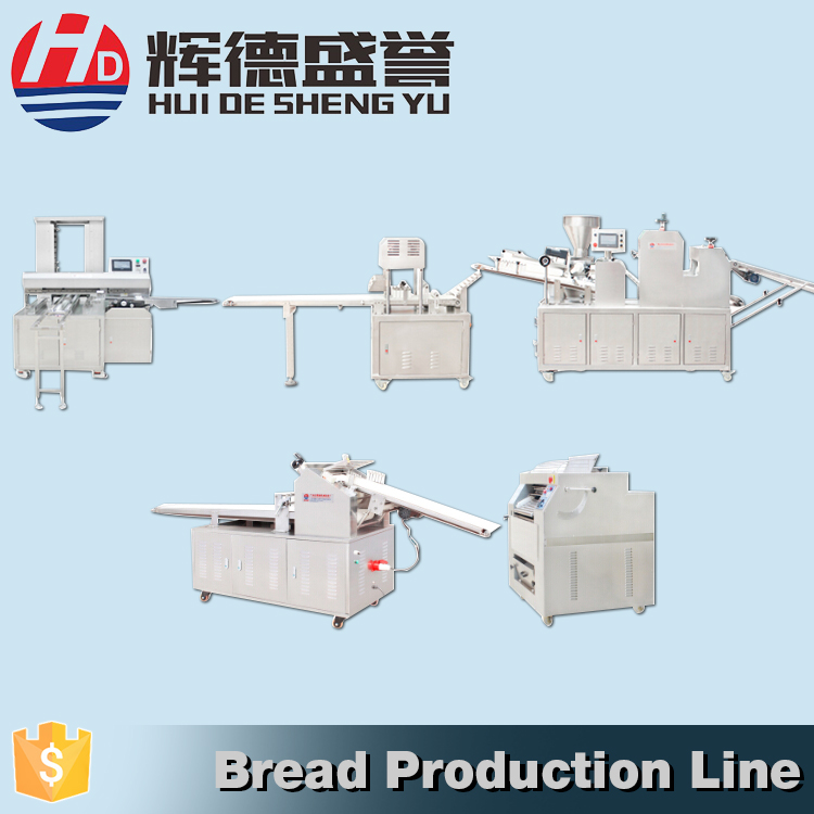 Food production line for bread forming machine