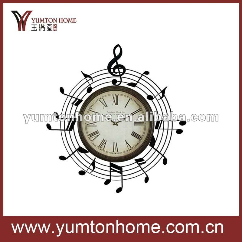 Modern metal music notes wall clock decor
