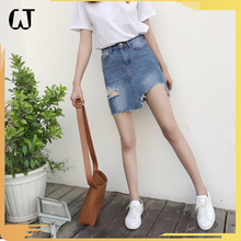L943#fancy new summer lady denim short dress no underwear broken edg woman jeans skirts stock