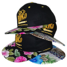 China Supplier Unique Africa Floral Snapback Hats Embroidered Hats Men Snapback