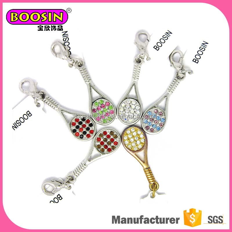 Custom sport decoration jewelry cute charms for necklace tennis racket charms