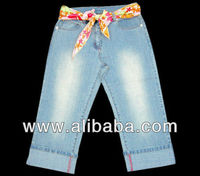 GIRL'S CAPRI JEANS PANTS WITH BELT