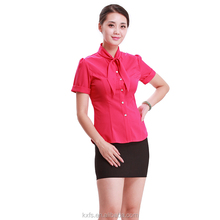 OEM tailored made for office lady office blouse shirts in simple design