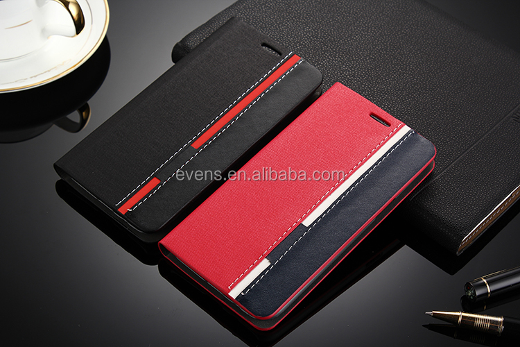 Contrast color Fashion PU Leather Wallet Flip Mobile Phone Case Cover For Nokia E5