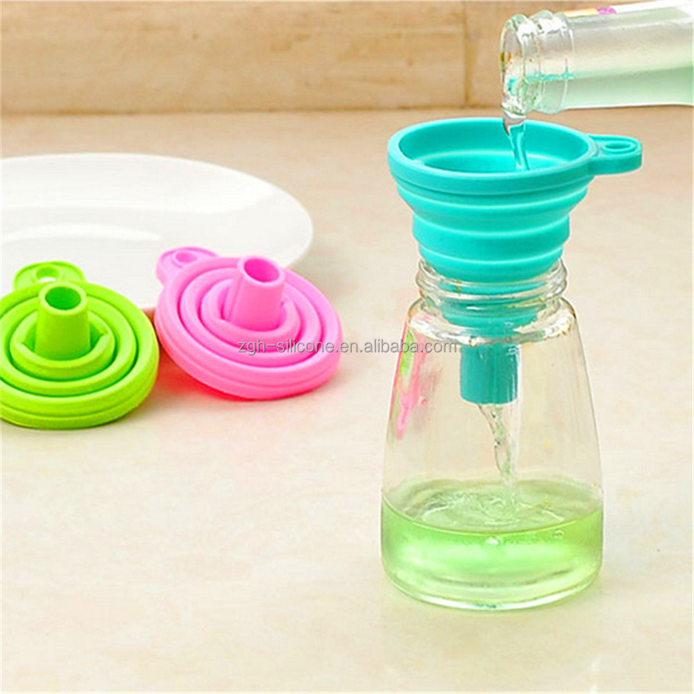 Kitchen Tool Collapsible Oil Funnel Silicone Foldable Liquid Funnel