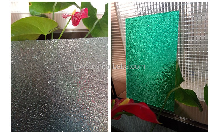 Tiansu provided PC Embossed high-tech sheet polycarbonate 2mm-16mm.Home decoration. waterproof raw material form Germany.