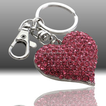 Metal Material and Alloy Metal Type Rhinestone Heart Shape Key Chain