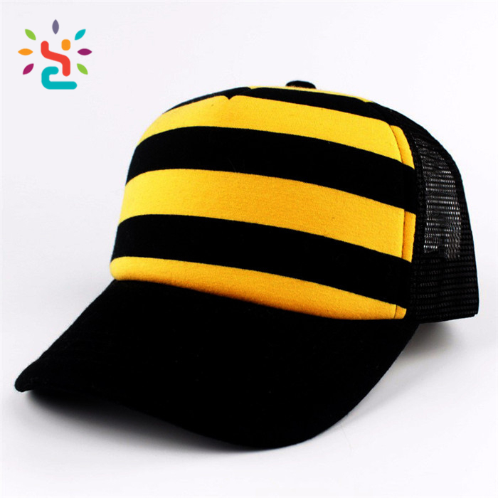 Wholesale Zebra stripes baseball caps white and black two colors hats custom logo outdoor mesh cap