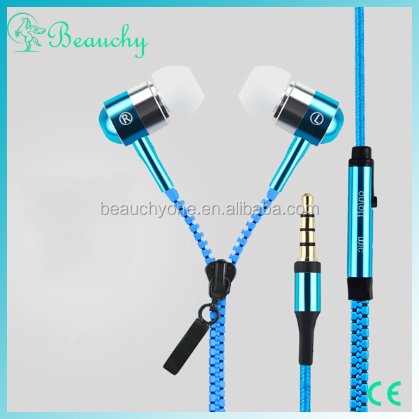 new products 2016 Beauchy High quality Colorful cellphone headphones with Microphone, The newest luxurious zipper headphones