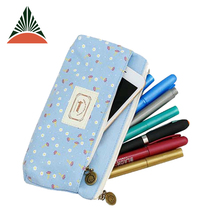Factory Price Students Girls Lovely Leisure Canvas Zipper Pen Case Pencil Bag