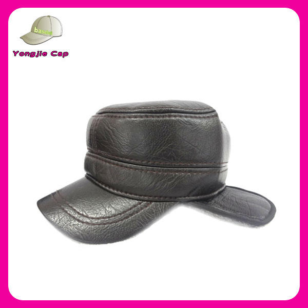 top quality black leather men military winter hats with earmuff
