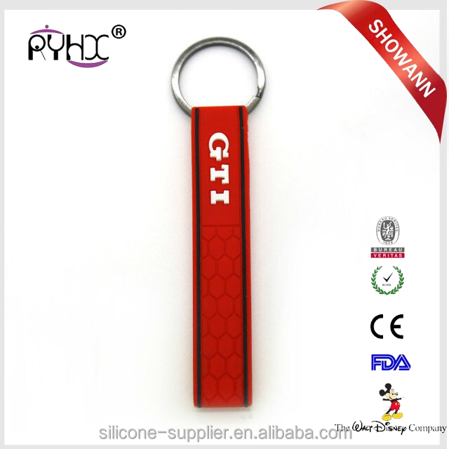 Cheap Wholesale Silicone Rubber GTI Keychain For Car <strong>Key</strong>