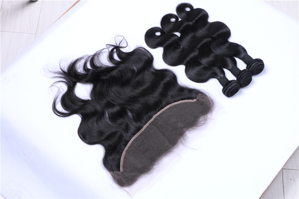 "Natural Hairline 13""*2"" Ear To Ear Full Lace Frontals Closure With Bundles Malaysia Body Wave cheap price for Baby Hair"