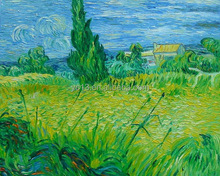 Vangogh green field scene handmade oil painting on canvas home decoration
