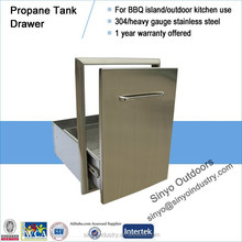 Luxury stainless propane/LP tank drawer for barbecue