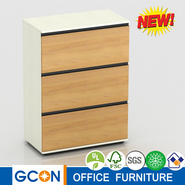Office furniture three drawers wooden file cabinet