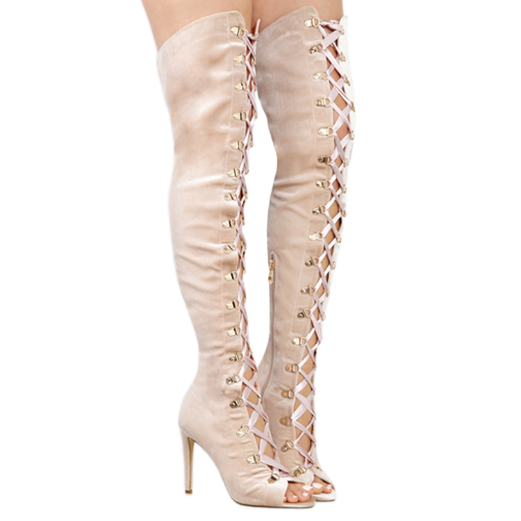 New brand ladies peep toe lace up velvet stiletto thigh high <strong>boots</strong>