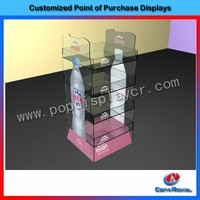 custom design 4 layer mineral water bottle acrylic display stands