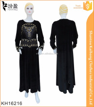 South korean 2016 winter plain color muslim abaya, abaya embroidery designs
