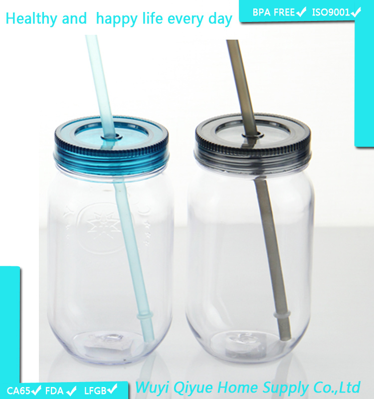 16oz single wall plastic mason drinking jars wholesale monster energy drink milk bottle with straw plastic mason jar