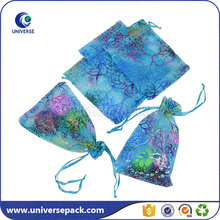 Promotional blue personalized organza bags with printed logo