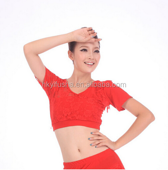 Cheap Short sleeve lace crop top for dance JYS67