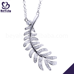 Boutique girls love silver shiny cz leaf pendants
