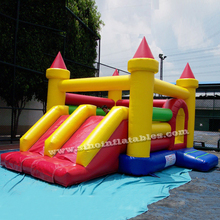 Pop rainbow inflatable combo bouncy castle with double lane slide made in China inflatable factory