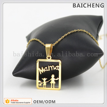 Sweet design jewelry Mother's girl necklace Mama and children in square pendant