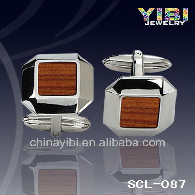 Stainless Steel Wood Inlay Cut Edges Rectangle Men's Designer Cuff Links