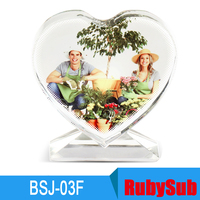 Fashion Love shape sublimation funny crystal photo frame for wedding gift BSJ-03F