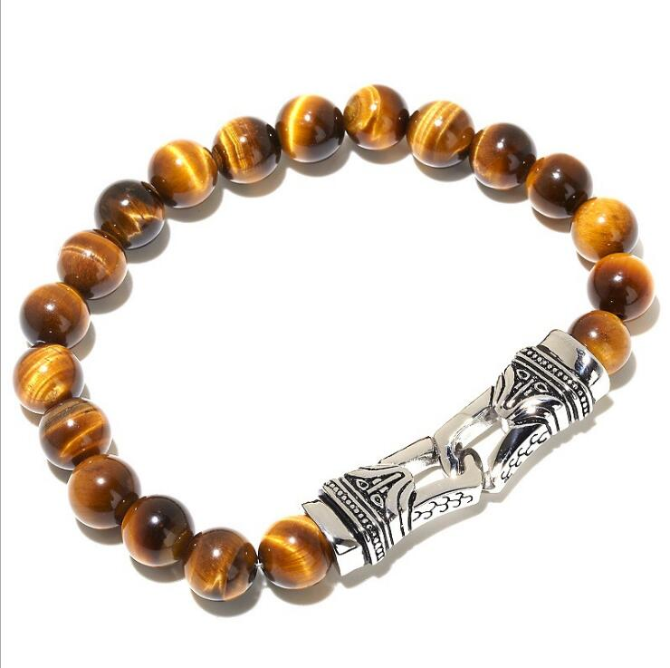 Mens Natural Gemstone Stone Stretch Bracelets
