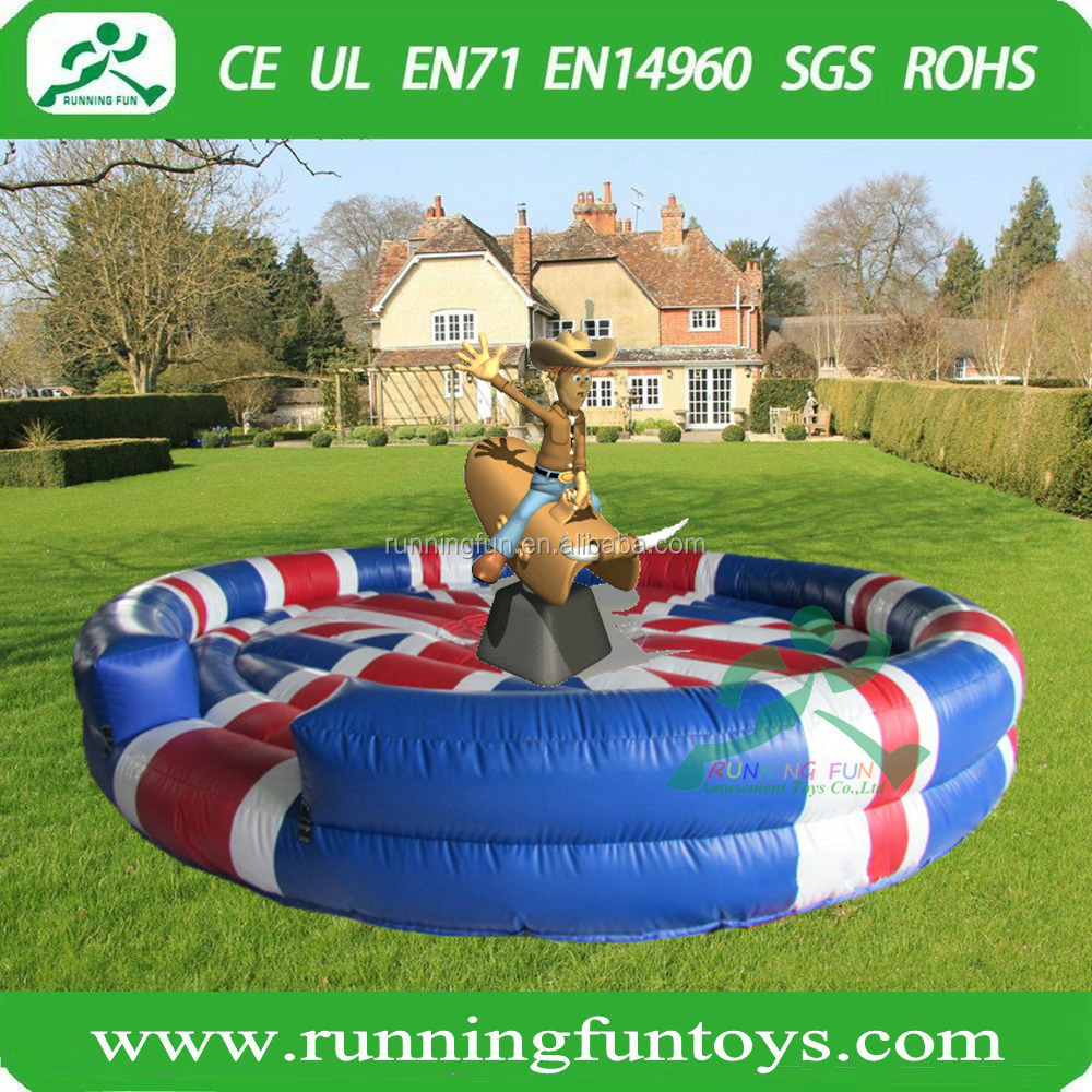 Cool nation flag inflatable rodeo bull riding machine for sale