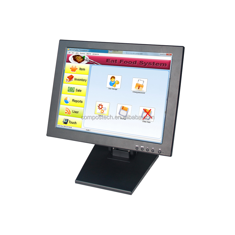 Stock 15 Inch Industrial LCD Touch Screen Monitor Desktop Computer Display For POS
