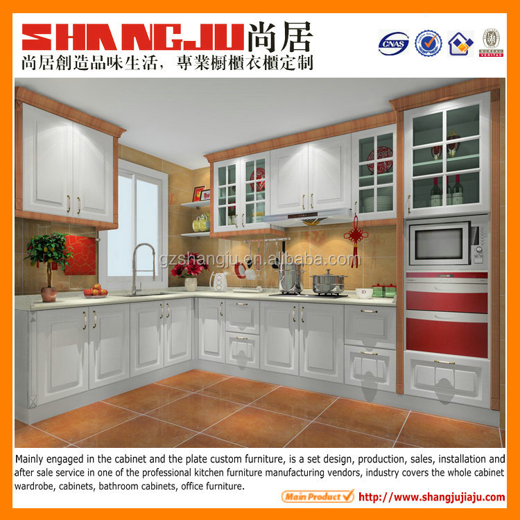 lacquer finish kitchen cabinet with roman pillar decoration