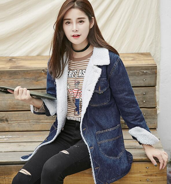 zm33799a young girls loose long overcoat 2017 latest deisgn ladies denim jacket coat