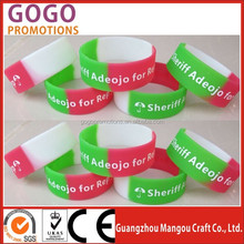 Silicon Bracelet with Custom Logo for Giveaway Events, Promotional screen printing logo silicone bracelet/custom logo and color