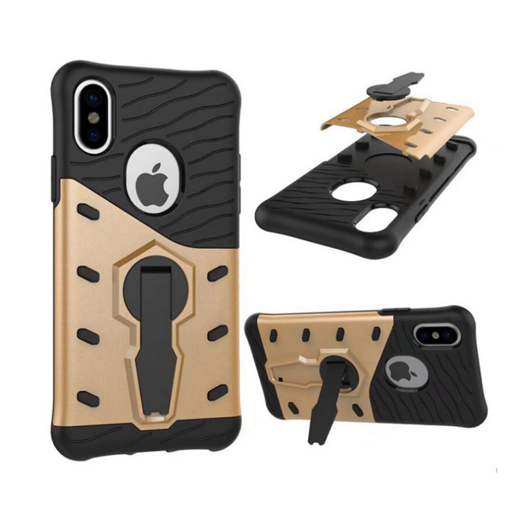 Heavy duty 360 degree kickstand slim rugged armor phone case for iPhone X