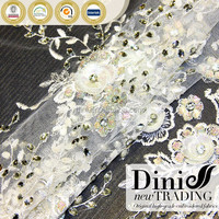 2015 fancy white beaded embroidered flowers bridal dress embroidery fabric material handwork