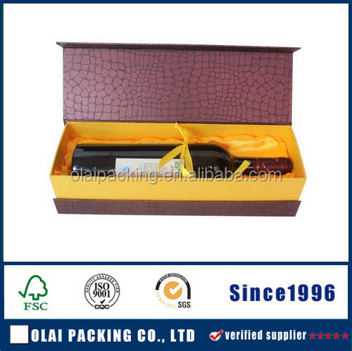 luxury high quality paper wine package with gold stamping