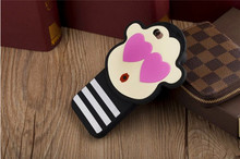 Cute Fall in love monkey 100% food grade silicone phone cases for iphones