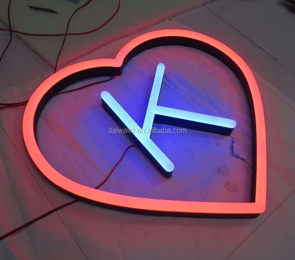 Double-lit heart shape 304 stainless steel letters signage LED neon <strong>sign</strong> for indoor and outdoor adverstising