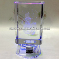 crystal souvenir gifts 3d laser crystal photo cube, crystal snowman with led light MH-F0296