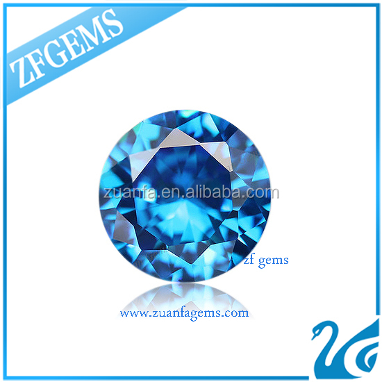 Ukraine 1.25mm round diamond cut aquamarine cz stone