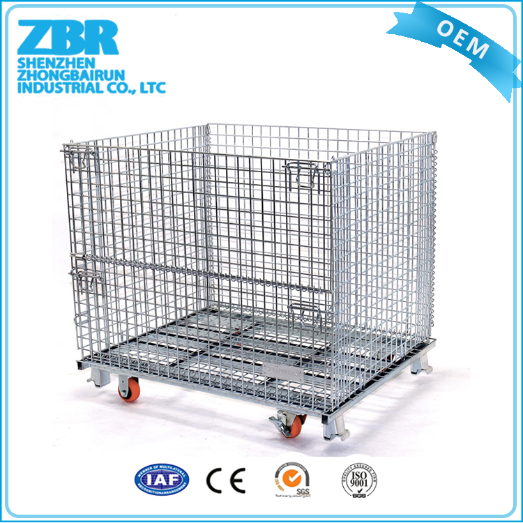 Zinc Portable Wire Mesh Storage Stackable Cage Container for Cargo Transport