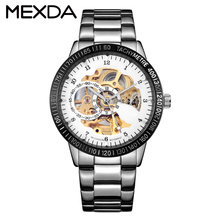 Custom 100m water resistant all stainless steel men's skeleton automatic mechanical watch for sale