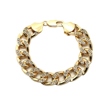 "NEW CELEBRITY STYLE ICED OUT 14mm/8.5"" LINK CHAIN GOLD FASHION BRACELET"