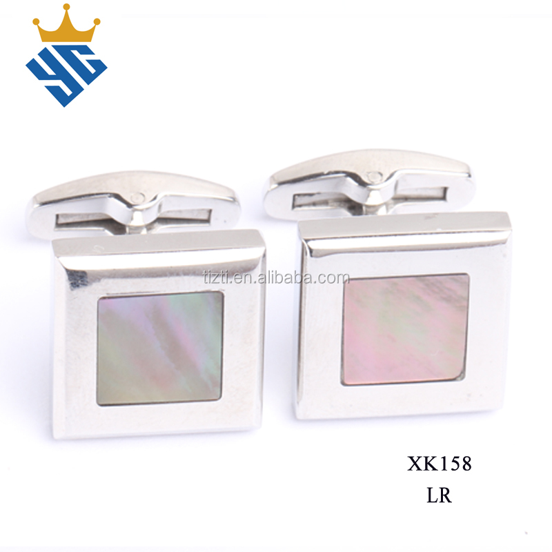 Framed Mother of Pearl square shape fashion stainless steel Cufflink for men's shirt
